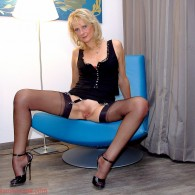 Another set of sexy mature lady Selina Charm showing off her ass and shaved pussy in black fully fashioned stockings and high heels. Click Here and Checkout Selina Charm's Nylon...