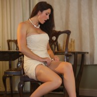 Smoking British vixen Miss Hybrid rocking a tight cream coloured dress with a pair of sexy sheer stockings and sandal heels. Click Here To Checkout or Join Sexy Miss Hybrids...